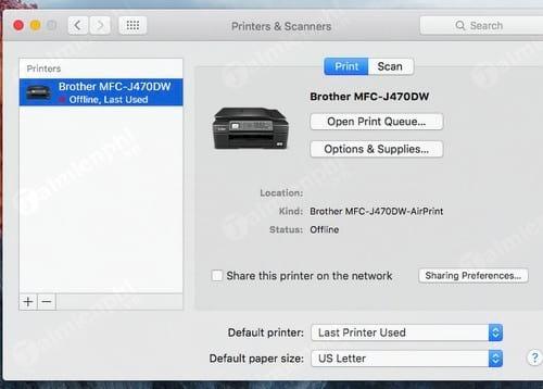 Thêm lại máy in vào máy Macbook